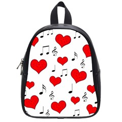 Love Song Pattern School Bags (small)  by Valentinaart