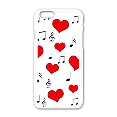 Love Song Pattern Apple Iphone 6/6s White Enamel Case by Valentinaart