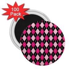 Argyle Pattern Pink Black 2 25  Magnets (100 Pack)