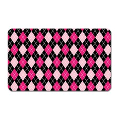 Argyle Pattern Pink Black Magnet (rectangular)