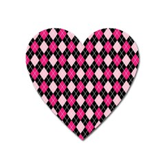 Argyle Pattern Pink Black Heart Magnet