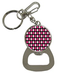 Argyle Pattern Pink Black Button Necklaces by Nexatart