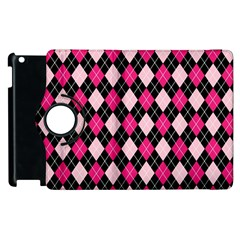 Argyle Pattern Pink Black Apple Ipad 2 Flip 360 Case by Nexatart