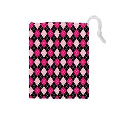 Argyle Pattern Pink Black Drawstring Pouches (medium)