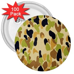 Army Camouflage Pattern 3  Buttons (100 Pack)