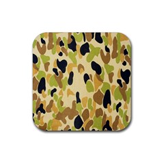 Army Camouflage Pattern Rubber Coaster (square)  by Nexatart