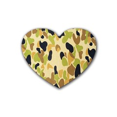 Army Camouflage Pattern Heart Coaster (4 Pack)