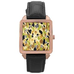Army Camouflage Pattern Rose Gold Leather Watch