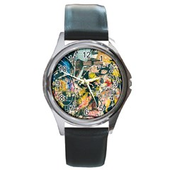 Art Graffiti Abstract Vintage Round Metal Watch by Nexatart