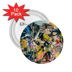 Art Graffiti Abstract Vintage 2 25  Buttons (10 Pack)  by Nexatart