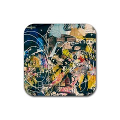 Art Graffiti Abstract Vintage Rubber Square Coaster (4 Pack)  by Nexatart