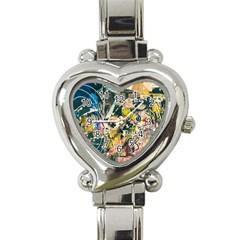 Art Graffiti Abstract Vintage Heart Italian Charm Watch by Nexatart