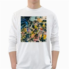 Art Graffiti Abstract Vintage White Long Sleeve T Shirts by Nexatart