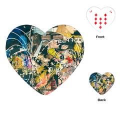 Art Graffiti Abstract Vintage Playing Cards (heart)  by Nexatart