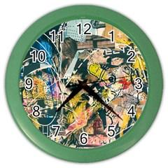 Art Graffiti Abstract Vintage Color Wall Clocks by Nexatart