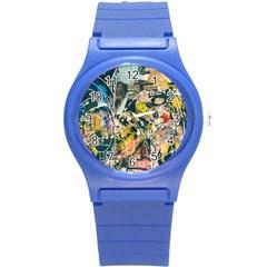 Art Graffiti Abstract Vintage Round Plastic Sport Watch (s) by Nexatart