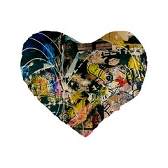 Art Graffiti Abstract Vintage Standard 16  Premium Flano Heart Shape Cushions by Nexatart