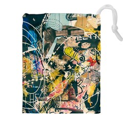 Art Graffiti Abstract Vintage Drawstring Pouches (xxl) by Nexatart