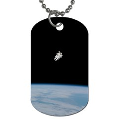 Astronaut Floating Above The Blue Planet Dog Tag (one Side)