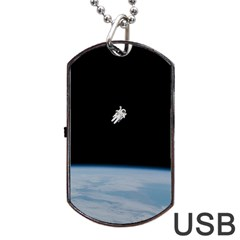 Astronaut Floating Above The Blue Planet Dog Tag Usb Flash (one Side)