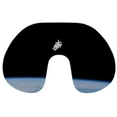 Astronaut Floating Above The Blue Planet Travel Neck Pillows