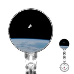 Astronaut Floating Above The Blue Planet Stainless Steel Nurses Watch