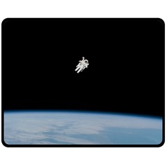 Astronaut Floating Above The Blue Planet Double Sided Fleece Blanket (medium)
