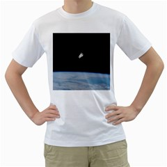 Astronaut Floating Above The Blue Planet Men s T Shirt (white)