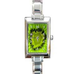 Kiwi Fruit Slices Cut Macro Green Rectangle Italian Charm Watch by Alisyart