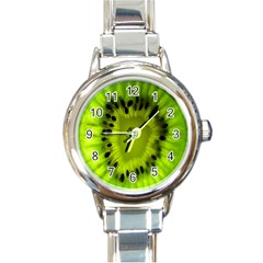 Kiwi Fruit Slices Cut Macro Green Round Italian Charm Watch by Alisyart