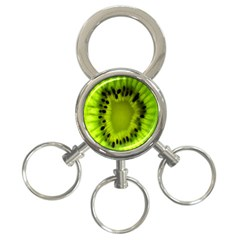 Kiwi Fruit Slices Cut Macro Green 3 Ring Key Chains by Alisyart