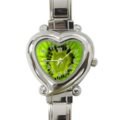 Kiwi Fruit Slices Cut Macro Green Heart Italian Charm Watch by Alisyart