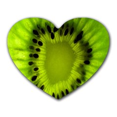 Kiwi Fruit Slices Cut Macro Green Heart Mousepads by Alisyart