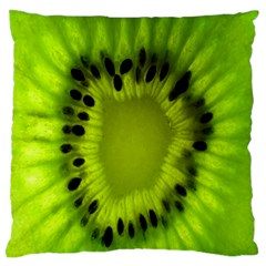 Kiwi Fruit Slices Cut Macro Green Large Flano Cushion Case (one Side) by Alisyart