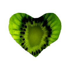 Kiwi Fruit Slices Cut Macro Green Standard 16  Premium Flano Heart Shape Cushions by Alisyart