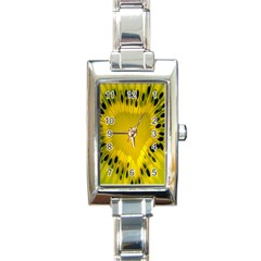 Kiwi Fruit Slices Cut Macro Green Yellow Rectangle Italian Charm Watch by Alisyart