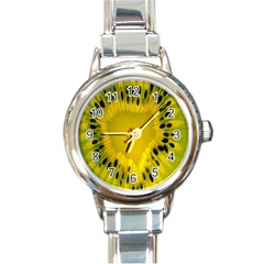 Kiwi Fruit Slices Cut Macro Green Yellow Round Italian Charm Watch by Alisyart