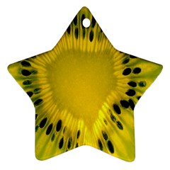 Kiwi Fruit Slices Cut Macro Green Yellow Ornament (star) by Alisyart