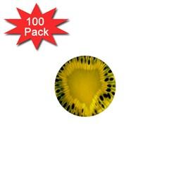 Kiwi Fruit Slices Cut Macro Green Yellow 1  Mini Magnets (100 Pack)  by Alisyart