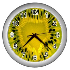 Kiwi Fruit Slices Cut Macro Green Yellow Wall Clocks (silver)  by Alisyart