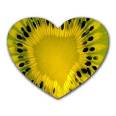 Kiwi Fruit Slices Cut Macro Green Yellow Heart Mousepads by Alisyart
