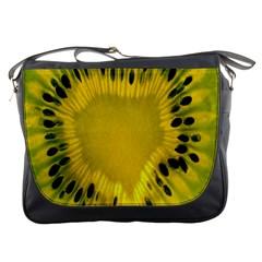 Kiwi Fruit Slices Cut Macro Green Yellow Messenger Bags by Alisyart