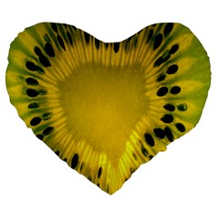 Kiwi Fruit Slices Cut Macro Green Yellow Large 19  Premium Heart Shape Cushions by Alisyart