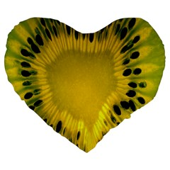 Kiwi Fruit Slices Cut Macro Green Yellow Large 19  Premium Flano Heart Shape Cushions by Alisyart