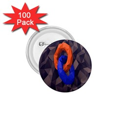 Low Poly Figures Circles Surface Orange Blue Grey Triangle 1 75  Buttons (100 Pack)  by Alisyart