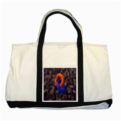 Low Poly Figures Circles Surface Orange Blue Grey Triangle Two Tone Tote Bag by Alisyart