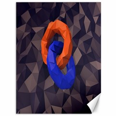 Low Poly Figures Circles Surface Orange Blue Grey Triangle Canvas 36  X 48   by Alisyart