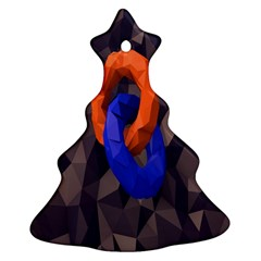 Low Poly Figures Circles Surface Orange Blue Grey Triangle Ornament (christmas Tree)  by Alisyart