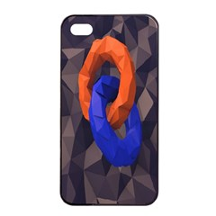 Low Poly Figures Circles Surface Orange Blue Grey Triangle Apple Iphone 4/4s Seamless Case (black) by Alisyart