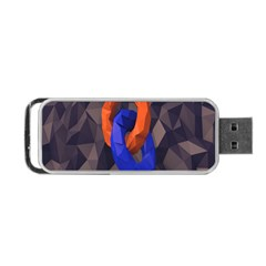 Low Poly Figures Circles Surface Orange Blue Grey Triangle Portable Usb Flash (two Sides) by Alisyart